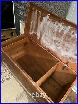 Large Wooden Vintage Blanket Box Toy Chest Storage Chest