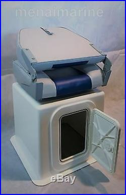 Large high back boat seat (folding) with seat storage box, 360 swivel and hatch
