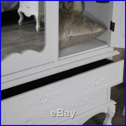 Large ornate white double wardrobe vintage French chic bedroom furniture storage