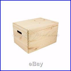 Large wooden box with lid, Storage boxes, Plain wooden boxes 40x30x24cm