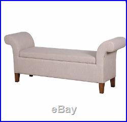 Lovely Long linen Storage stool ottoman Very large bedroom storage box NEW