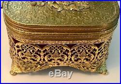 Lrg Vtg Amber Jeweled Ormolu Jewelry Casket Trinket Box withRemovable Storage Tray