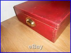 MECCANO ORIGINAL DARK RED / BURGUNDY LARGE STORAGE BOX No. 3 TWO INNER TRAYS
