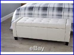 Modern Large Cream Fabric Verona Storage Box Ottoman Seat Chest Quality Bedroom