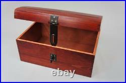 Mahogany X Large Treasure Chest Wooden Box Memory Storage Keepsake SO22mmL