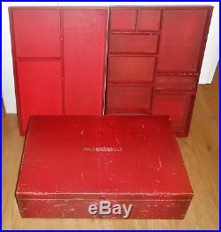 Meccano Original Dark Red / Burgundy Large Storage Box Two Inner Trays & Key