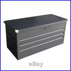 Metal Storage Chest w Lock & Key Waterproof Seal Hydraulic Lid Garden Outdoor