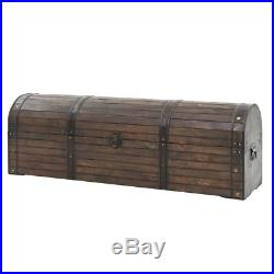 Mid Century Antique Large Wooden Blanket Box Storage Trunk Solid Wood End-Of-Bed