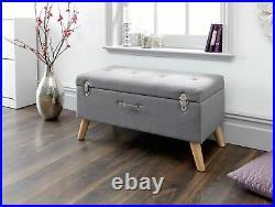 Minstrel Large Ottoman Storage Unit Blanket Box Hopsack Fabric Stool Bench Grey