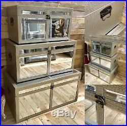 Moc Croc Pu Mirrored Glass Trunks Storage Chest Blanket Box Set Of 3
