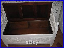 Monks Bench with Large Storage Blanket Box Annie Sloan Shabby Chic Style