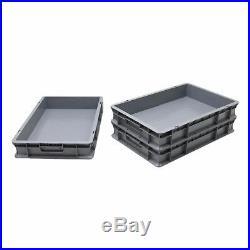 NEW 50 x 20 Litre Heavy Duty Grey Plastic Euro Storage Container Boxes Box Bins