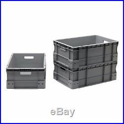 NEW 50 x 45 Litre Heavy Duty Grey Plastic Euro Storage Container Boxes Box Bins