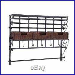 NEW Large Craft Storage Rack Wall Mount Shelf 3 Baskets Bins 5 Hooks Ribbon Roll