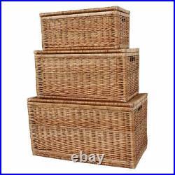 Natural Wicker Storage Trunk Woven Chest Rectangular Lidded Toy Linen Box