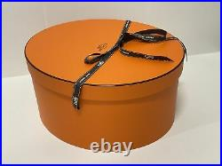 New HERMES XL Oval Storage Hat Gift Box WithRibbon 13x11.25x6.5