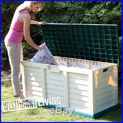 New Large Plastic Garden Storage Deck Box Weatherproof Chest Bench