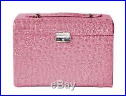 New Pink PU Large Jewellery Box Case Watch Holder Storage Organizer With Lock