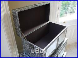 New S/3 Silver Embossed Mirrored Glass Storage Blanket Box Chest Large Trunks