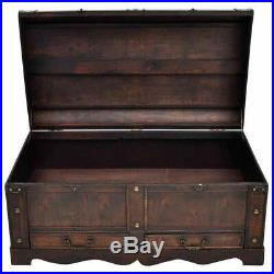 New Vintage Large Wooden Treasure Chest Storage Trunk Box Brown/Mocha Brown