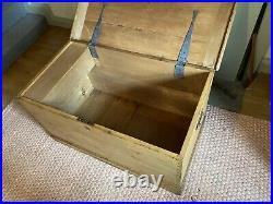 Old Antique PINE CHEST, LARGE Wooden Blanket TRUNK, Coffee TABLE, BOX, Storage