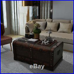 Old Coffee Table Large Storage Box Retro Rustic Blanket Wooden Trunk Room Chest