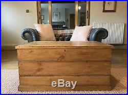 Old Large PINE CHEST, Wooden Blanket TRUNK, Coffee TABLE Storage BOX Toy Vintage
