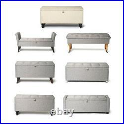 Ottoman Large Storage Chest Box Seat Storage Bench Bedroom Pouffe Toy Box Grey