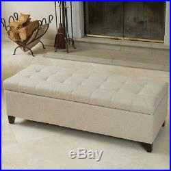 Ottoman Storage Bench Large Upholstered Beige Seat Box Hall Bedroom Footstool
