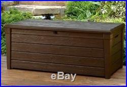 Outdoor Patio Large Plastic Storage Lockable Dark Brown Durable 2 Seater