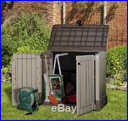 Outdoor Plastic Garden Storage Shed Box Store Container Chest Tool Wheelie Waste