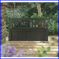 Outdoor Storage Bench Seat Large Plastic Garden Chest Patio Deck Waterproof Box
