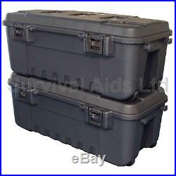 Pack of 2, Black Military Storage Trunks Plano Heavy Duty