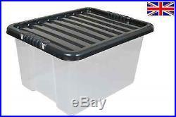 Pack of 50 x 35 Litre Plastic Storage Boxes with Black Lids New Large Box 35 L