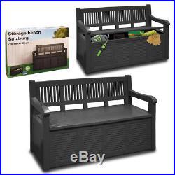 Patio Furniture Garden Storage Bench Outdoor Plastic Cushion Box Waterproof Seat