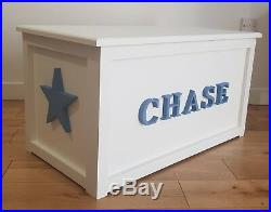 Personalised Wooden Toy Chest / Box / Storage in white. Large