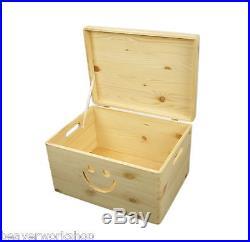 Plain Large Pine Wooden Storage Box / SET OF 3 with SMILE / 39x30x79 cm