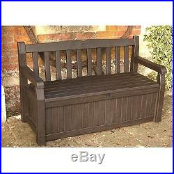 Plastic Garden Storage Box Unit Bench Outdoor Patio Furniture Seater Brown Large