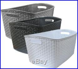 Plastic Laundry Basket Large Rattan Washing Clothes Hamper Storage Bin Box Bag