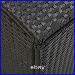 Poly Rattan Cushion Box Garden Storage Box Garden Chest Large Patio Trunk Black