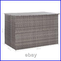 Poly-Rattan Garden Storage Box Grey Steel Zipped Closure Water-Resistant Large