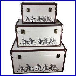 Quality Set Of 3 Jonathan Brett Storage Trunks Small Medium Large Box New