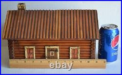 Rare Large 12 x 8 MCGRAW BOX CO Wood LOG CABIN STORAGE / TRINKET BOX ca1920s