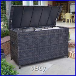 Rattan Garden Furniture Large Brown Outdoor Patio Lawn Cushion Storage Box