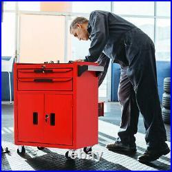 Red Tools Mobile Rolling Wheels Trolley Lockers Cart Storage Cabinet Tool Box UK