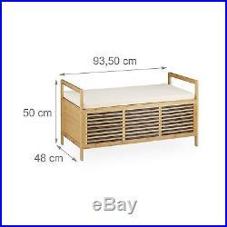 Incredible Relaxdays Bamboo Storage Bench Size L 46 X 93 X 50 Cm Inzonedesignstudio Interior Chair Design Inzonedesignstudiocom