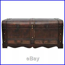 Retro Wooden Treasure Chest Large Brown Vintage Storage Box Trunk Coffee Table