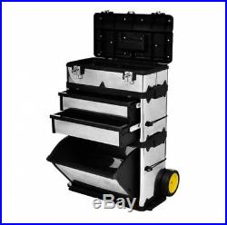 Rolling Tool Box with 2 Soft Rubber Wheels Highly Mobile Large Deep Storage