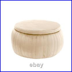 Round Large Ottoman Storage Box Pouffe Velvet Padded Stool Home Chair Footstool