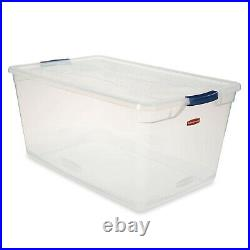 Rubbermaid Cleverstore 95 Quart Clear Plastic Storage Container & Lid, (4 Pack)